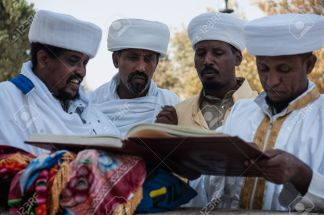 JERUSALEM - OCT 31: Kessim, religious leaders of the Ethiopian Jews, prepare for the Sigd prayers - Oct. 31, 2013 in Jerusalem, Israel. The Sigd is an annual holyday of the Ethiopian Jews.