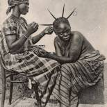 dressing-a-fanti-fante-ladys-hair-sekondi-gold-coast-west-africa-modern-G3C021